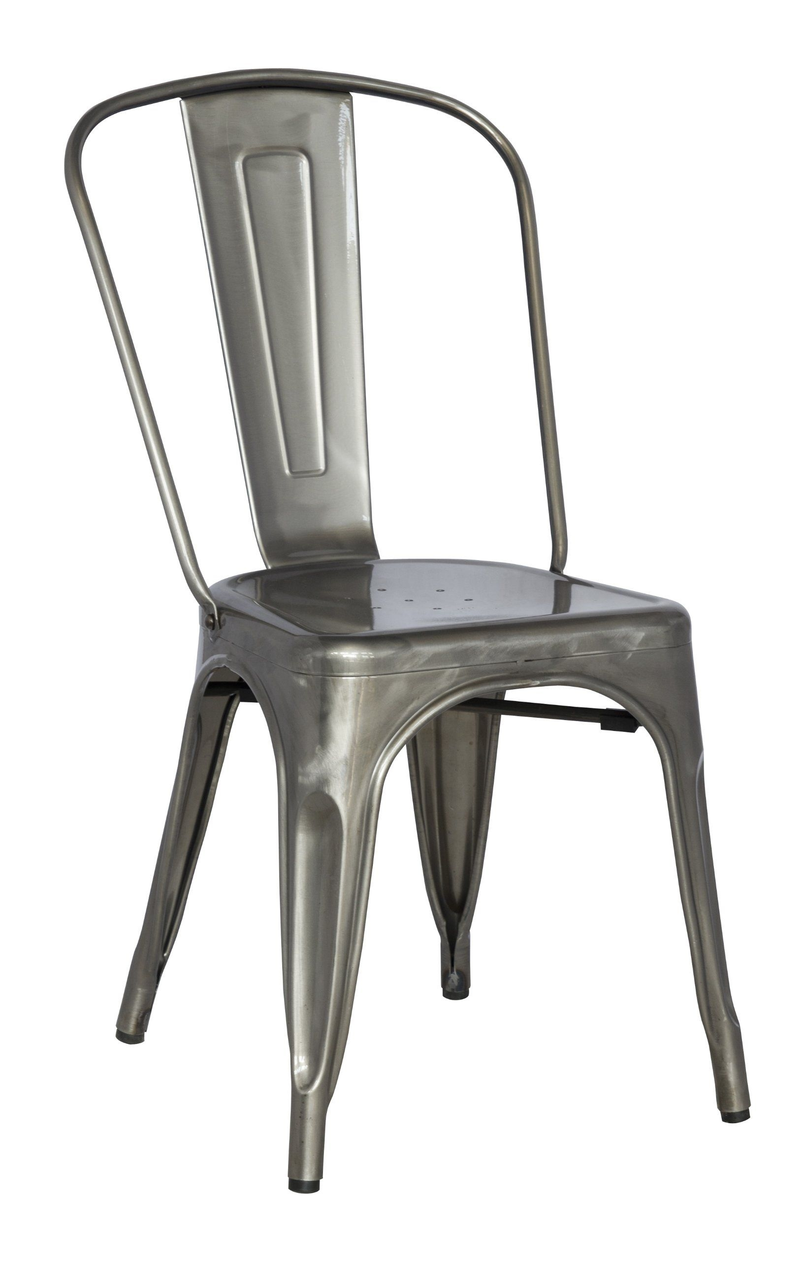 Chintaly Imports Gun Metal Galvanized Steel Side Chairs, Set Of 4