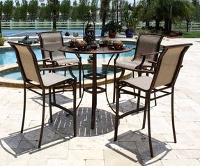 Chub Cay Patio 5 Piece Slatted Pub Table and Barstools