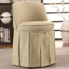 Coaster Home Furnishings 900072 Accent Seating Vanity Stool with Pleated Skirt, Beige