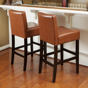Counter Height Bar Stools Hazelnut Color Leather add Elegance to Kitchen Dining (Set of 2)