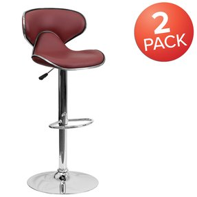 Cozy Mid-Back Adjustable Height Barstool Red