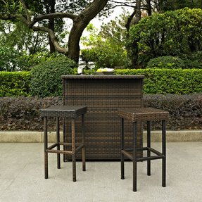 Crosley Crosley Palm Harbor 3 Piece Outdoor Wicker Patio Bar Set