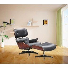 Designer Modern Classic Plywood Lounge Chair & Ottoman with Palisander Base & Black Leather Uphostery