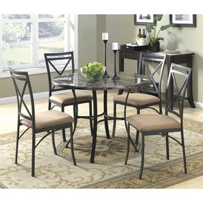 Dorel Asia WM3669 Faux Marble Top Dining Table Set