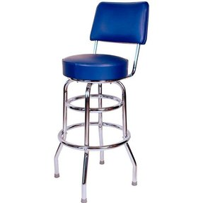 Double Ring Commercial Bar Stool with Back - Red