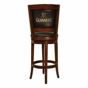 East Coast Innovations Guinness 30 in. Swivel Bar Stool with Back, Black, Wood