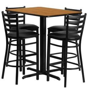 Flash Furniture 24''W x 42''L Rectangular Black Laminate Table Set with 4 Ladder Back Metal Bar Stools - Black Vinyl Seat