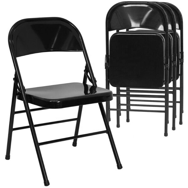 Elegant Flash Furniture 4 Pack Metal Folding Chairs, Black