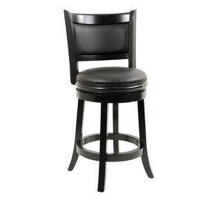 Flash Furniture TA-11024-CA-CTR-GG Cappuccino Wood Counter Height Stool with Black Leather Swivel Seat, 24-Inch