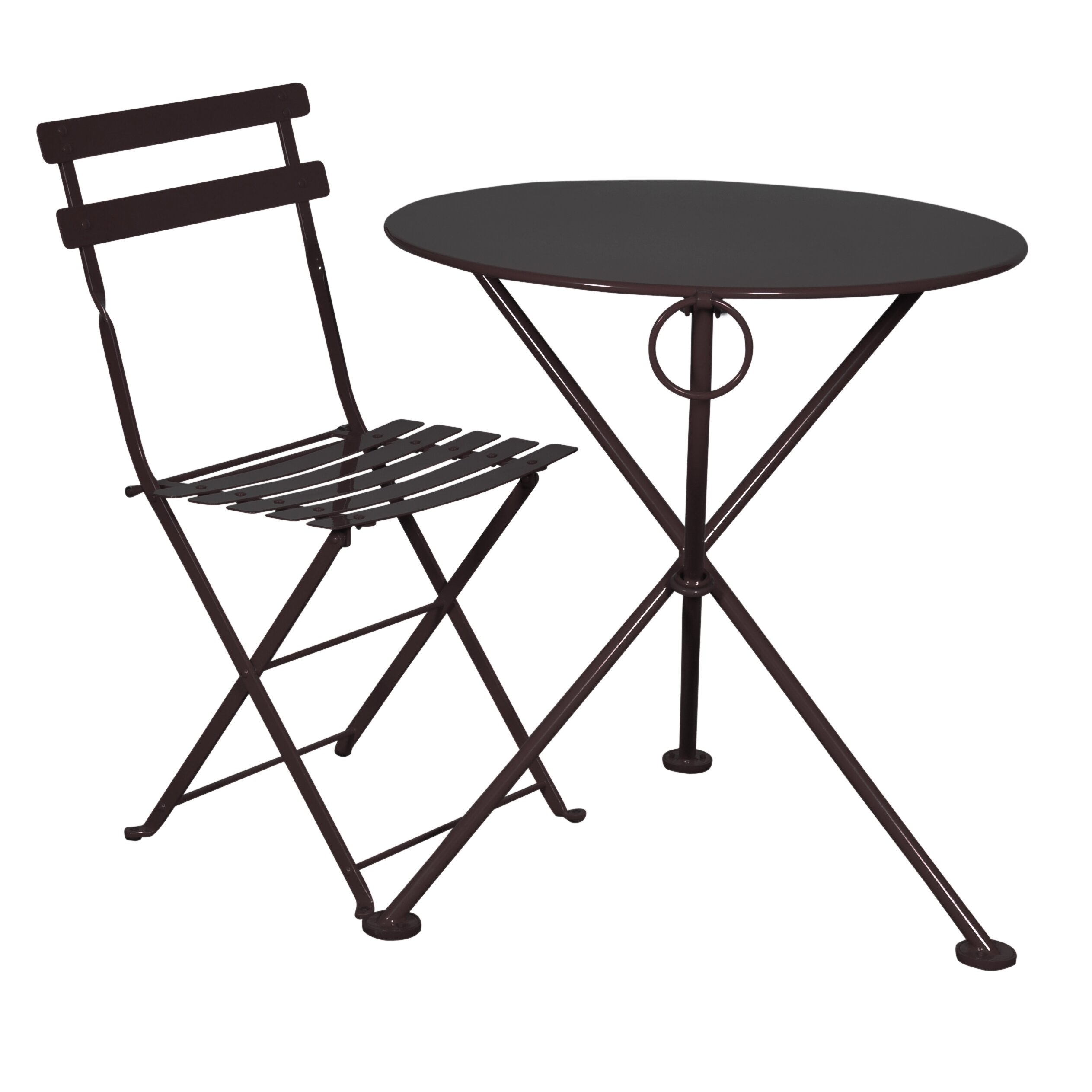 Furniture Designhouse 5517S BK Handcrafted French Bistro European Cafe  Folding Side Chair With Steel Metal