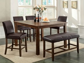 Furniture of America Ingrid 8-Piece Square Dining Set with Bench, Counter Height, Dark Brown