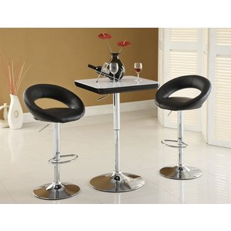 Furniture of America Trent Leatherette Adjustable Bar Stool, Black, Set of 2
