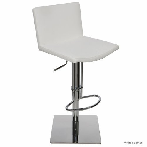 Gia Leather Adjustable Bar Stool   White