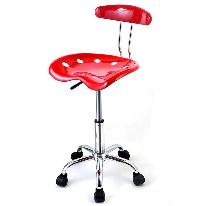 Giantex ABS Tractor Seat Adjustable Bar Stools Swivel Chrome Kitchen  Breakfast (Red)