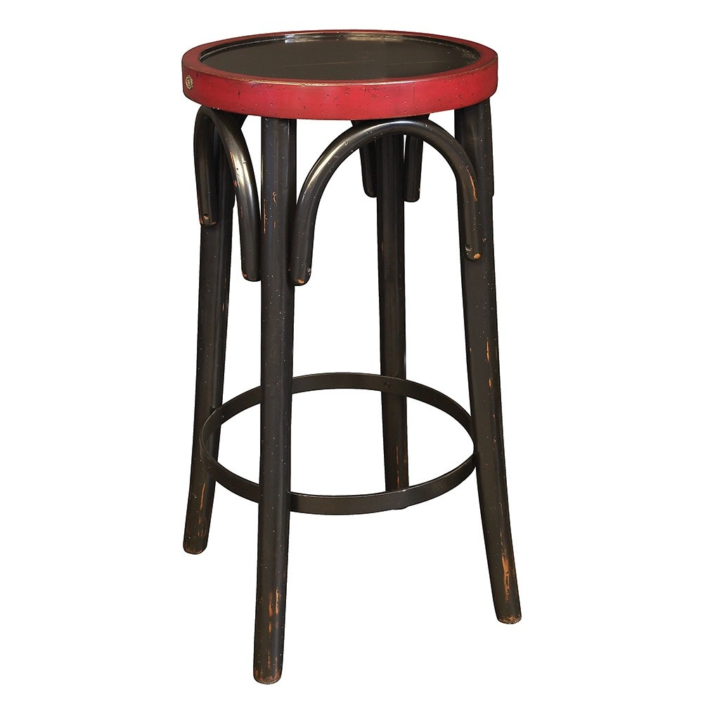 Grand Hotel Bar Stool   Backless Bar Stool   Features Cherry And Maple Wood  In Distressed