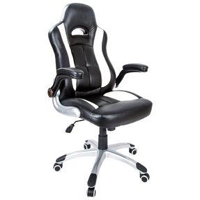 H&L Office High Back Black & White Bonded Leather Executive / Managerial Ergonomic Computer Desk Swivel Office Chair with Flip-up ArmRest ★ 100% Satisfaction Guarantee! ★