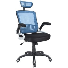 H&L Office High Back Blue Mesh Executive & Managerial Computer Desk Swivel Office Chair with Headrest and Flexible Arm Rest