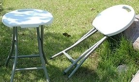 Heavy Duty - Light Weight - Metal and White Plastic Folding Stool - 400lb Capacity - Exclusively by Blowout Bedding RN# 142035