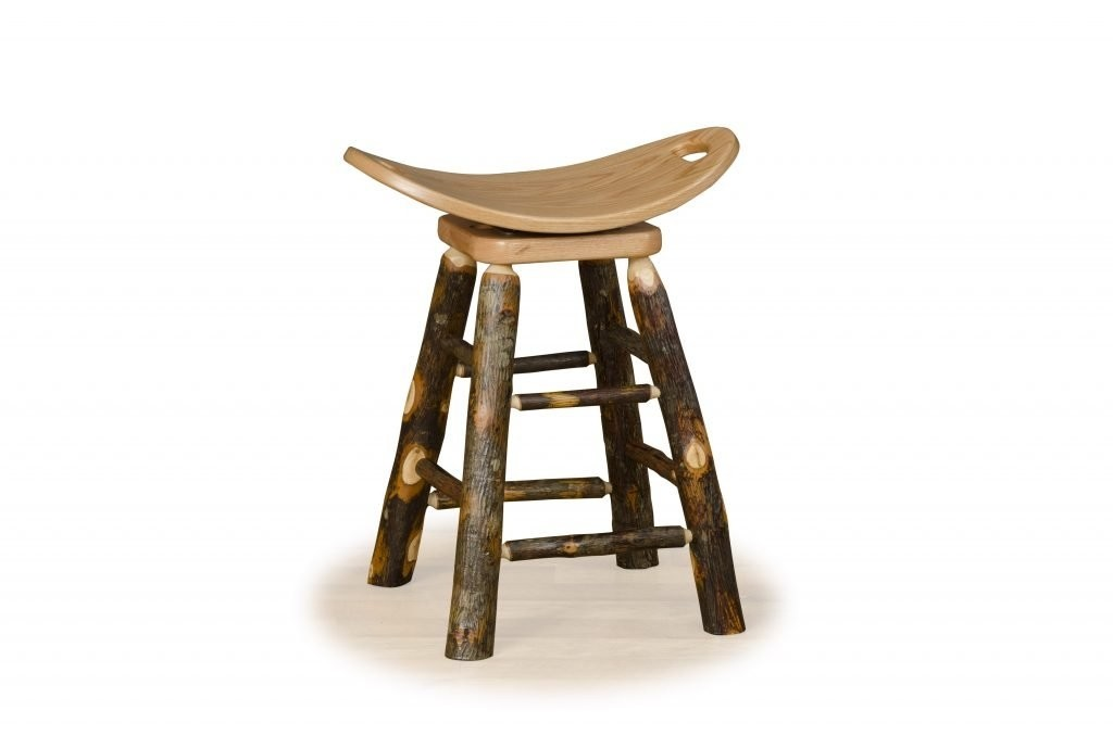 Hickory Log Swivel Saddle Stool   Bar Height  HICKORY SEAT  Amish Made