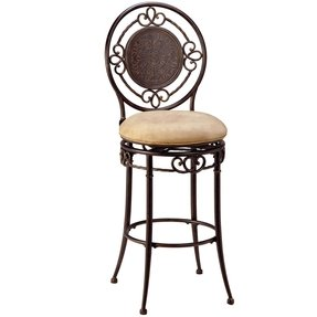 Hillsdale Richland 30-Inch Swivel Bar Stool, Black and Gold Finish with Buckskin Faux-Suede Fabric