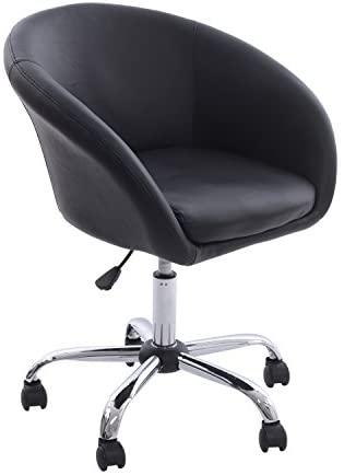 HomCom Modern Faux Leather Swivel Accent Tub Chair W/ Wheels   Black