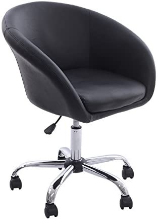 Captivating HomCom Modern Faux Leather Swivel Accent Tub Chair W/ Wheels   Black