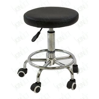 Hydraulic Stool Multi-purpose Black Hydraulic Adjustable Rolling Stool w/ Foot Rest for Massage Tables, Examination Tables, Office, Medical and Home Use