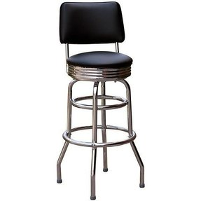 Jet Black Retro Bar Stool with Back - Made in the USA