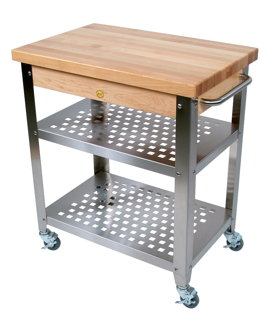 John Boos Stainless Steel Cart With 30 By 20 Inch Maple Top, Stainless Steel