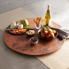 "Large Handmade Copper Lazy Susan 30"", Tempered Finish"