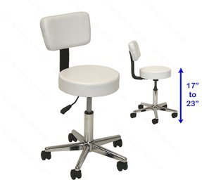 LCL Beauty Adjustable White Stool Chair Back Support foot Rest Dentist Doctor Medical Office Salon Spa Tattoo Equipment