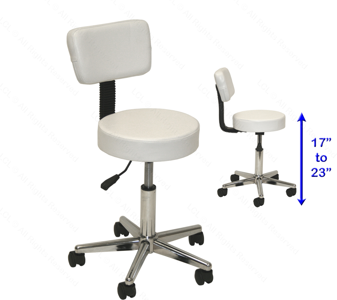 LCL Beauty Adjustable White Stool Chair Back Support Foot Rest Dentist  Doctor Medical Office Salon Spa