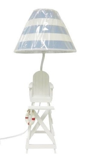 Lifeguard Chair Beach Summer Table/Desk Lamp-Blue & White Shade