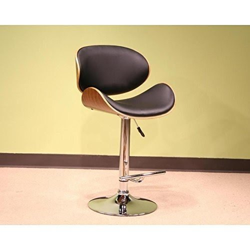Mid Century Retro Modern Vintage Molded Plywood Black Adjustable Swiveling Bar  Stool With Chrome Base