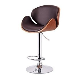 Mid Century Retro Modern Vintage Molded Plywood Brown Adjustable Swiveling Bar Stool with Chrome Base