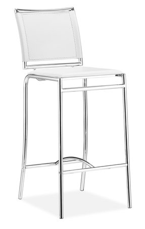 Modern Contemporary Bar Stool Chair, White Leatherette Chrome Steel (set of two)