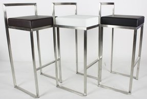 Modern Stackable Brushed Stainless Steel Bar Stool - Black - Set of Two