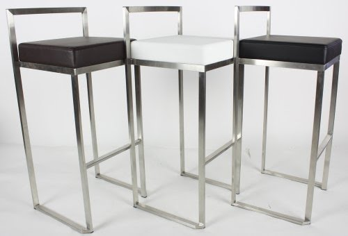 Modern Stackable Brushed Stainless Steel Bar Stool   Black   Set Of Two