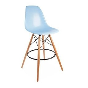 ModHaus Mid Century Modern Eames DSW Style Blue Counter Stool with Dowel Wood Base HIGH QUALITY Satin Finish