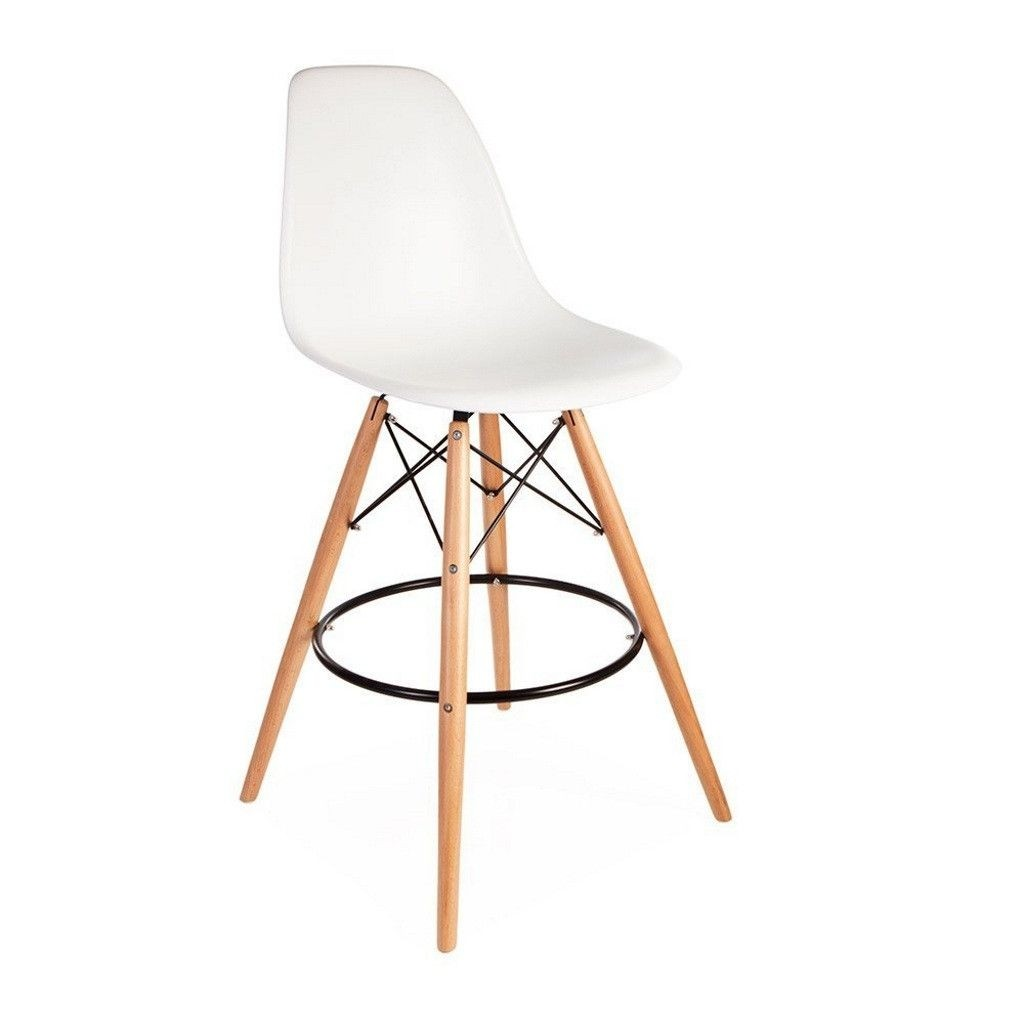 ModHaus Mid Century Modern Eames DSW Style White Counter Stool With Dowel  Wood Base Nice HIGH