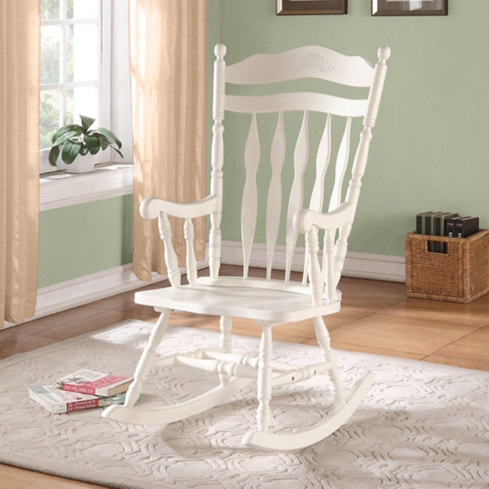 Monarch Embossed Back Solid Wood Rocking Chair, Antique White