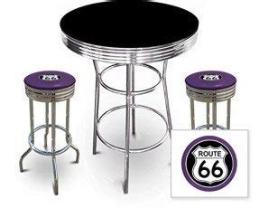 New 3 Piece Bar Table Set Includes 2 Swivel Seat Bar Stools featuring Route 66 Theme with Purple Seat Cushion