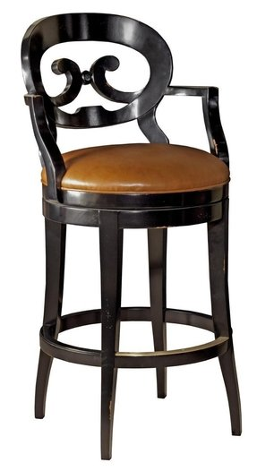 New Swivel Bar Stool Antique French Style Brown Leather Dramatic Black Wood