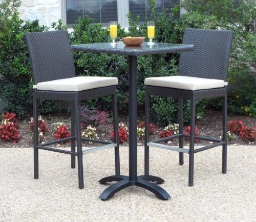 Outdoor Patio Wicker Furniture New Resin 3 Piece Dining Bar Table U0026 Barstool  Set