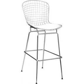 Pangea Home Lexi Wire Mesh Bar Stool, White and Black