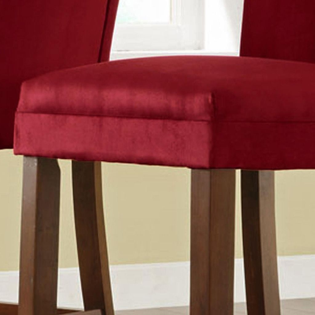 Parson Chairs, Set Of 2 Cranberry Red Microfiber Pub Chairs **Fabric  Upholstered Parson