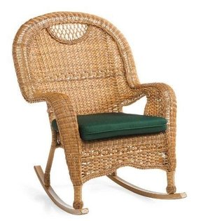 Prospect Hill Handwoven Resin Wicker Outdoor Rocking Chair in Light Brown