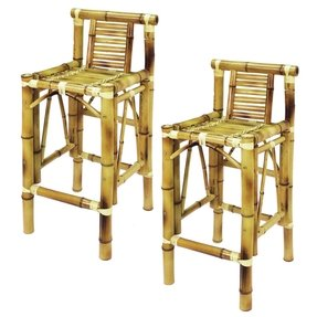 RAM Gameroom Products TBSTL 28 in. Seat Height Bamboo Tiki Barstools - Set of 2