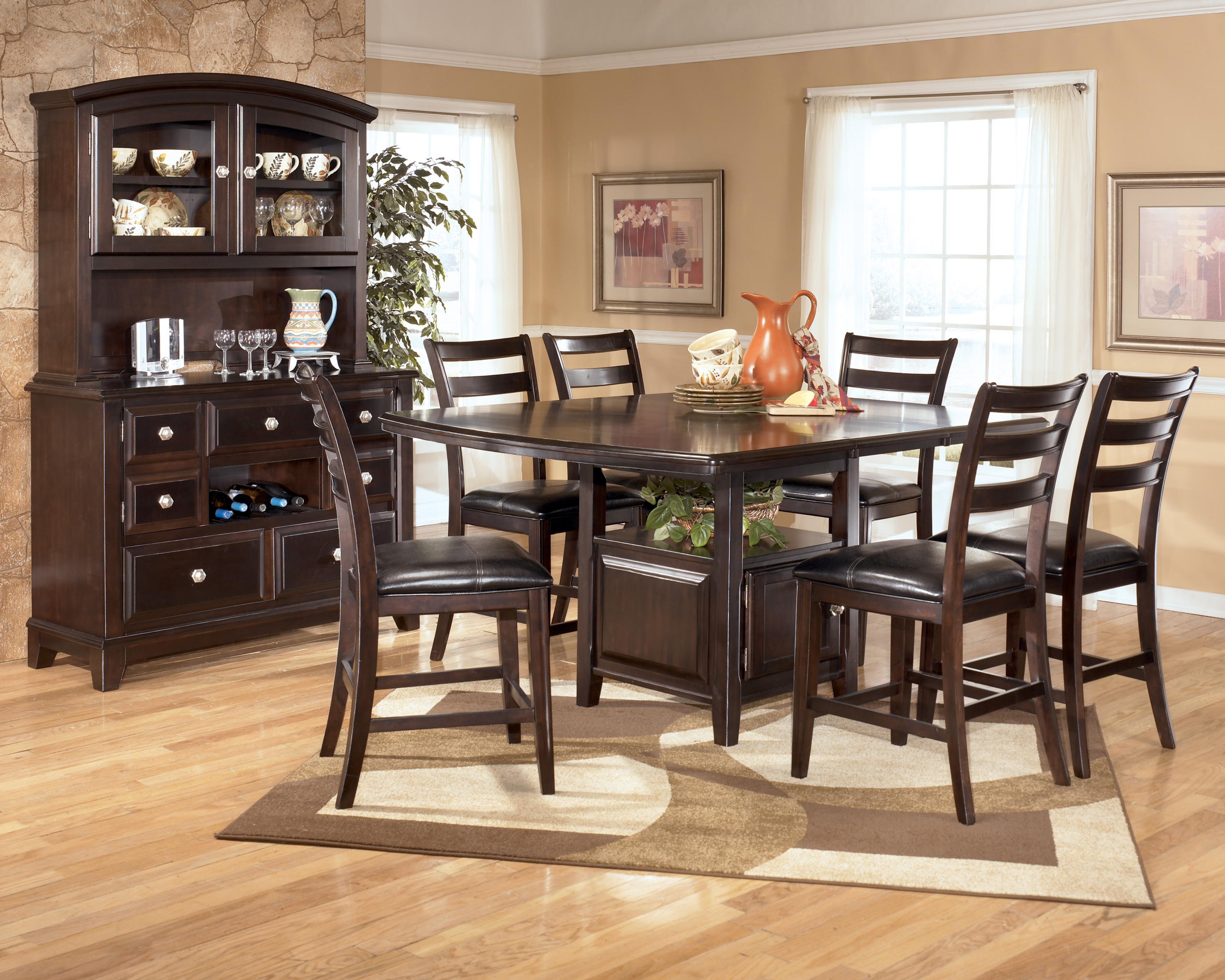 Bon Ridgley 7 Piece Square Counter Height Extension Dining Table Set In Dark  Brown