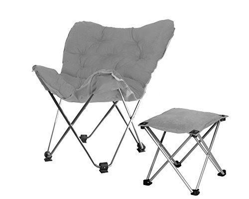 Rock Your Room Butterfly Chair With Footrest, Gray